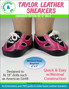 Taylor Leather Sneakers ITH Embroidery Pattern for 18 Inch Dolls