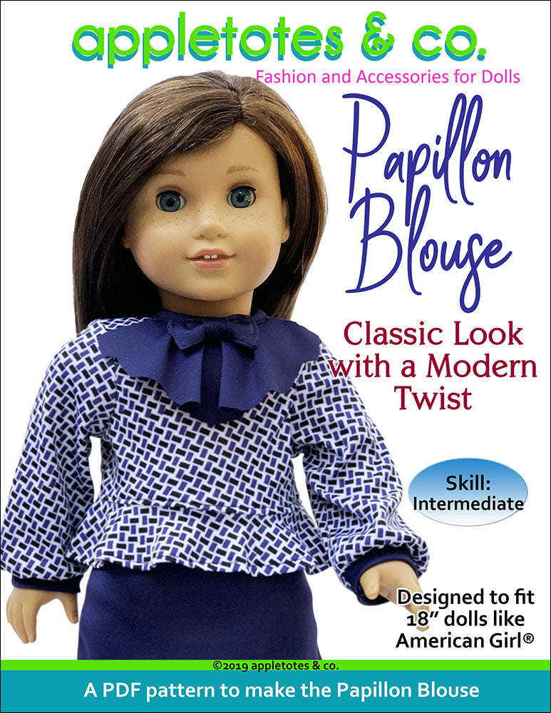 Papillon Blouse Sewing Pattern for 18 Inch Dolls