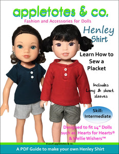 "Henley Shirt Sewing Pattern for 14.5"" Dolls"