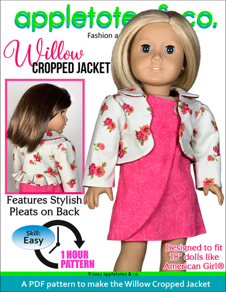 Willow Cropped Jacket 18 Inch Doll Sewing Pattern