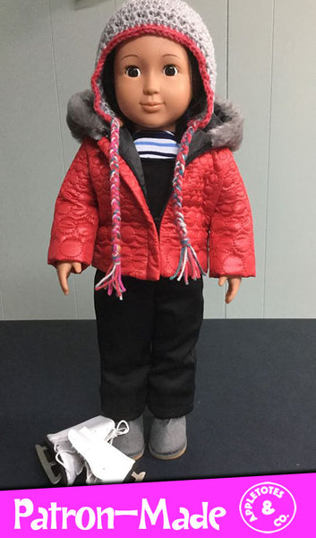 "Quilted Parka Bundle Sewing Pattern for 18"" Dolls"