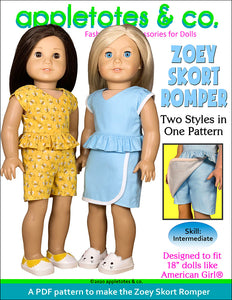 Zoey Skort Romper Sewing Pattern for 18 Inch Dolls
