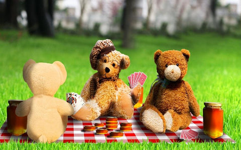 Teddy bears having a picnic