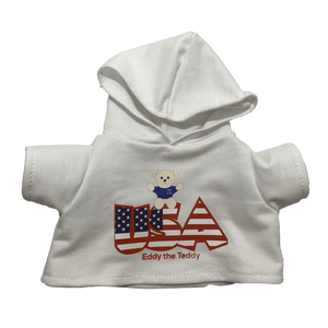 White USA Eddy The Teddy Hoodie