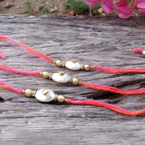 Fancy Fashionable Stone Beaded Rakhi Set of 3