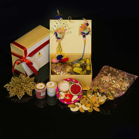 Combo of Peacock Rakhi with Dry Fruits
