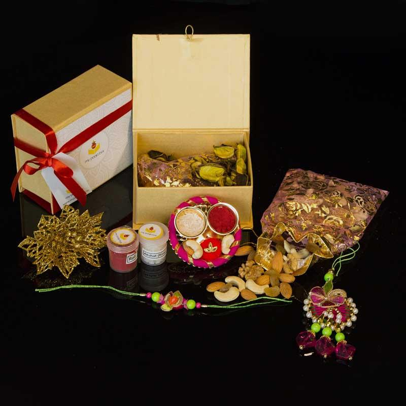 Exquisite Rakhi Box with Dry Fruits