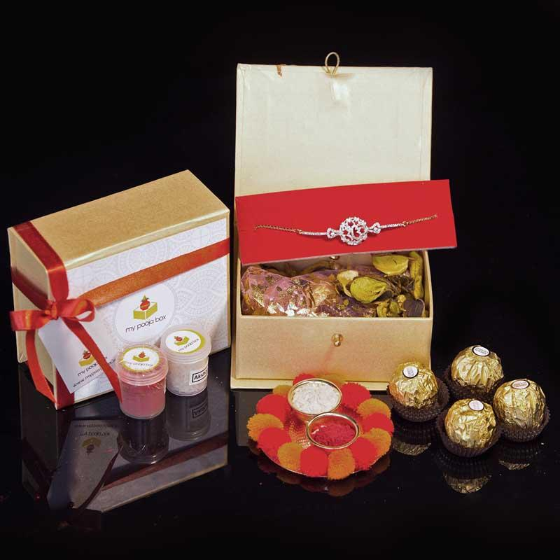 Combo of Diamond Rakhi with Ferrero Rocher