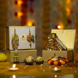 Pretty Petite Pastel Bhaiya Bhabhi Rakhi Box with Ferrero Rocher/Dry Fruits