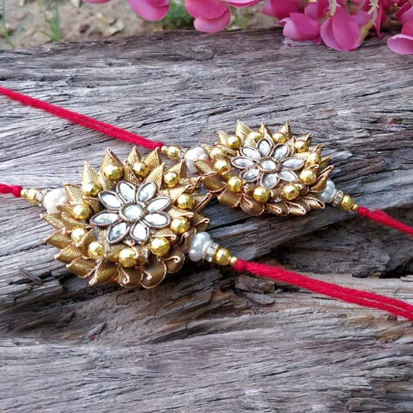 Gorgeous Handcrafted Gottapatti-Stone Floral Rakhi (Set of 2)