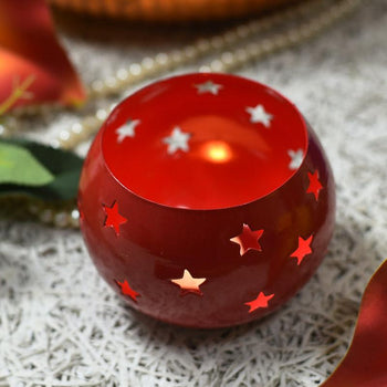 Round Red Decorative Candle Holder