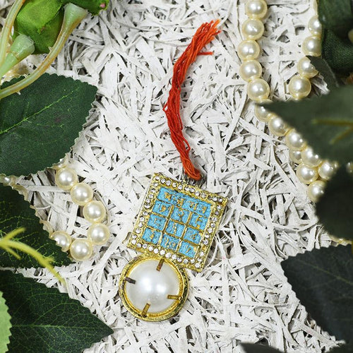 Stone-studded Chandra Yantra Pendant with White Pearl