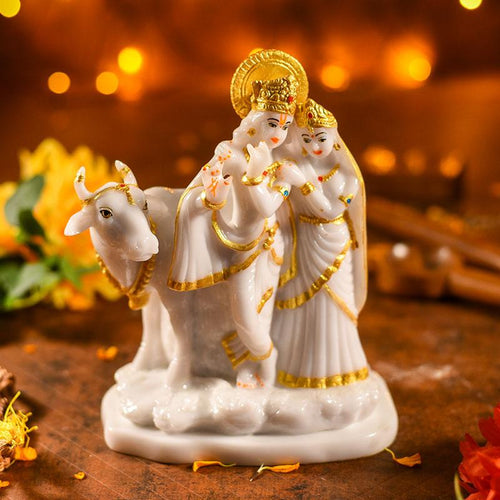 Radha Krishna With Cow Idol