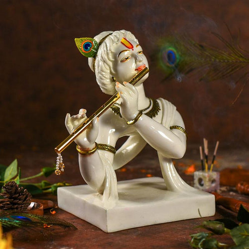 Divine Lord Krishna Idol Playing Flute