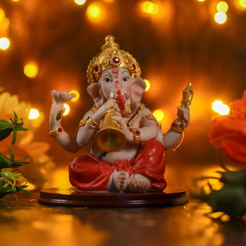 Antique Lord Ganesha With Musical Instrument