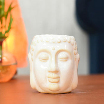Decorative Meditating Buddha Aroma Diffuser Tealight Holder White