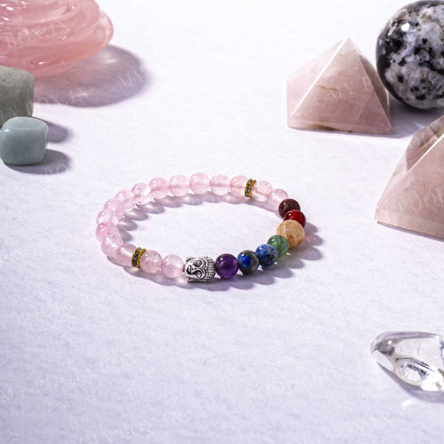 Rose Quartz & 7 Chakra Bracelet with Buddha Head Charm