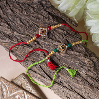 Diamond Shape Red & Green Rakhi (Set of 2)