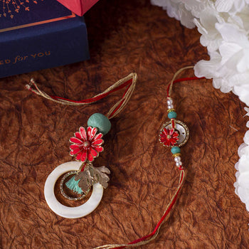 Red & Blue Floral Bhaiya Bhabhi Rakhi (Set of 2)