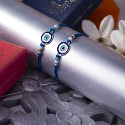 Turkish Evil Eye Blue Stone Rakhi (Set of 2)