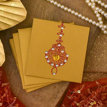 Elegant Golden & Red Shagun Envelope Set of 5