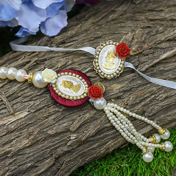 Silver Coin Beautiful Pearl Bhaiya Bhabhi Rakhi Set of 2