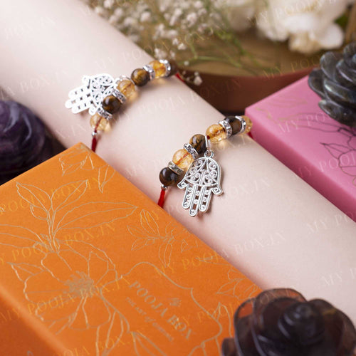 Protection Citrine & Tiger's Eye Crystal Rakhi (Set of 2)