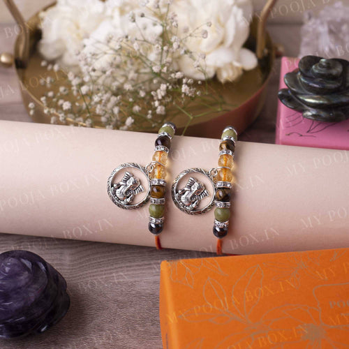Citrine, Tiger's Eye, Jade & Ganpati Crystal Rakhi (Set of 2)