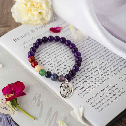 Amethyst Bracelet with Om Charm | Protection, Meditation & Calming