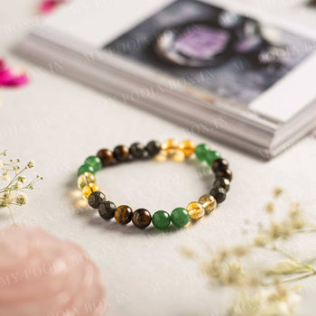 Wealth Crystal Healing Bracelet⎮Citrine, Tiger Eye, Jade