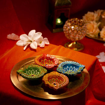 Multi-Color Diya (Set of 4)
