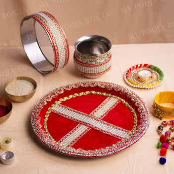 Red Pearl Karwa Chauth Thali Set