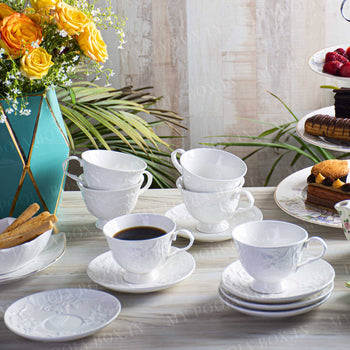 White Meadow Cups & Saucers (Set of 6)