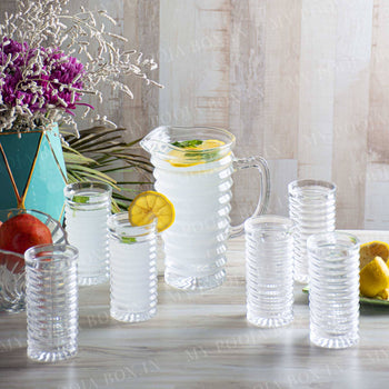 Twirl Glass Pitcher and Drinking Glasses ( Set of 7)