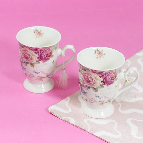 Flower Theme Vintage Tea Cups (Set of 2)