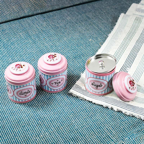 Fantastic Tea Sugar Coffee Tin Jars Set Of 3