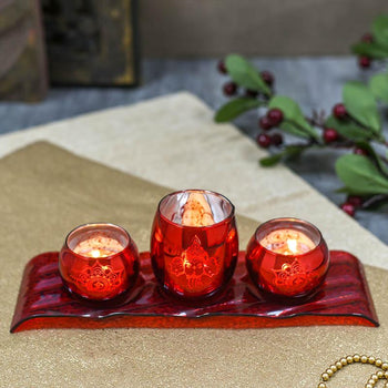 Aesthetic Red T-Light holder & Stand  With Hindu Elements- Set Of 3