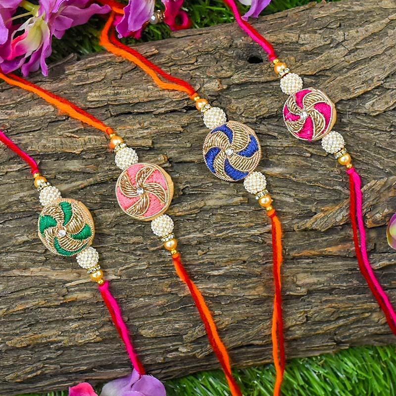 Chic Zari Round Rakhi (Set of 4)