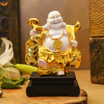 Feng Shui Laughing Buddha On Black Stand