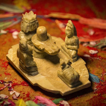 Handcrafted Marble Shiv Family Figurine