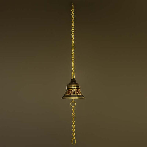 Handcrafted Antique Brass Pooja Bell with Exquisite Motifs