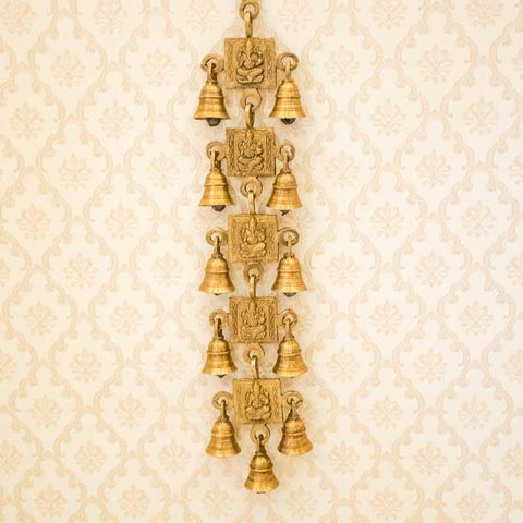 Antique Brass Door/Wall Hanging 11 Bells with Engraved Ganesh