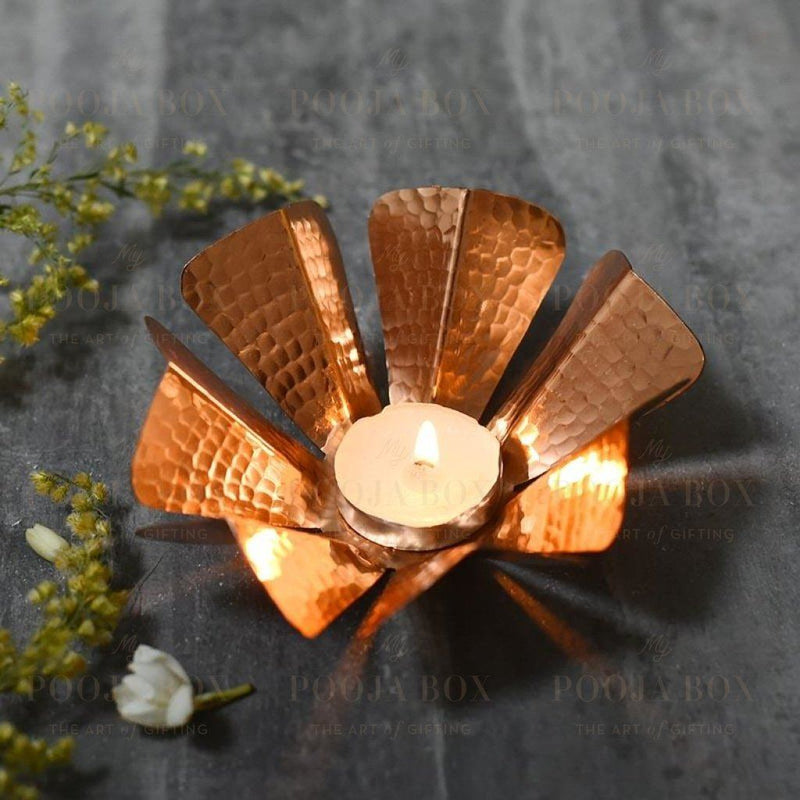 Adonia Copper Tlight Candle Holder