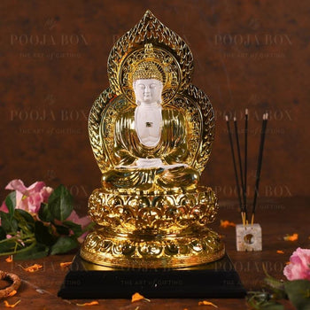 Antique Golden And White Buddha Statue Idols