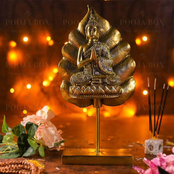 Antique Golden Buddha On Standing Bodhi Leaf Idols