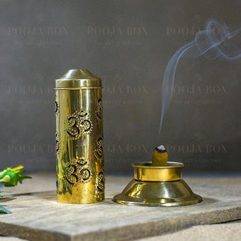 Beautiful Brass Incense Holder With Om Pattern