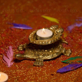 Brass Tortoise Deepak With Ganesh & Laxmi Candle Holder