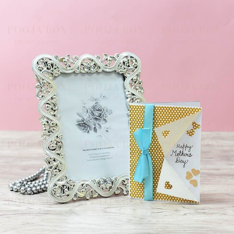 Classic Floral Silver Bordered Photo Frame Home Decor