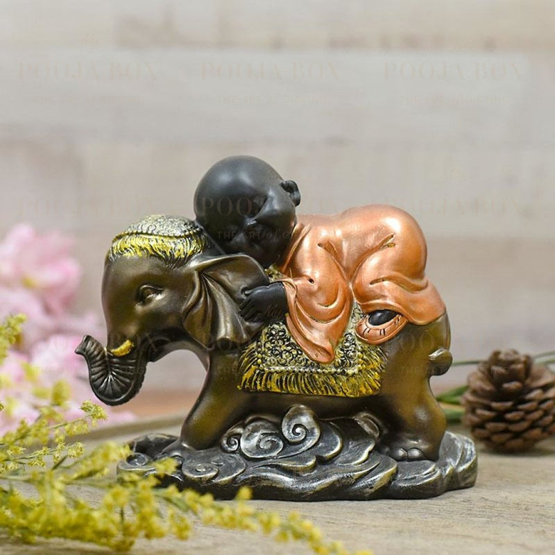 Cute Monk Sleeping On Elephant Showpiece Home Decor