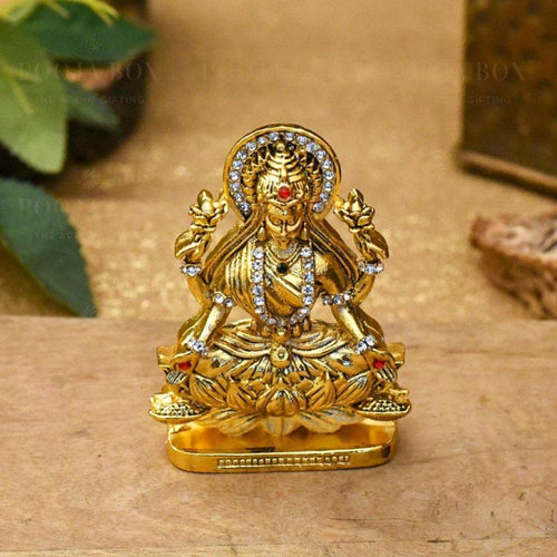 Diamond Studded Laxmi Idol On Lotus For Puja Home Decor Idols
